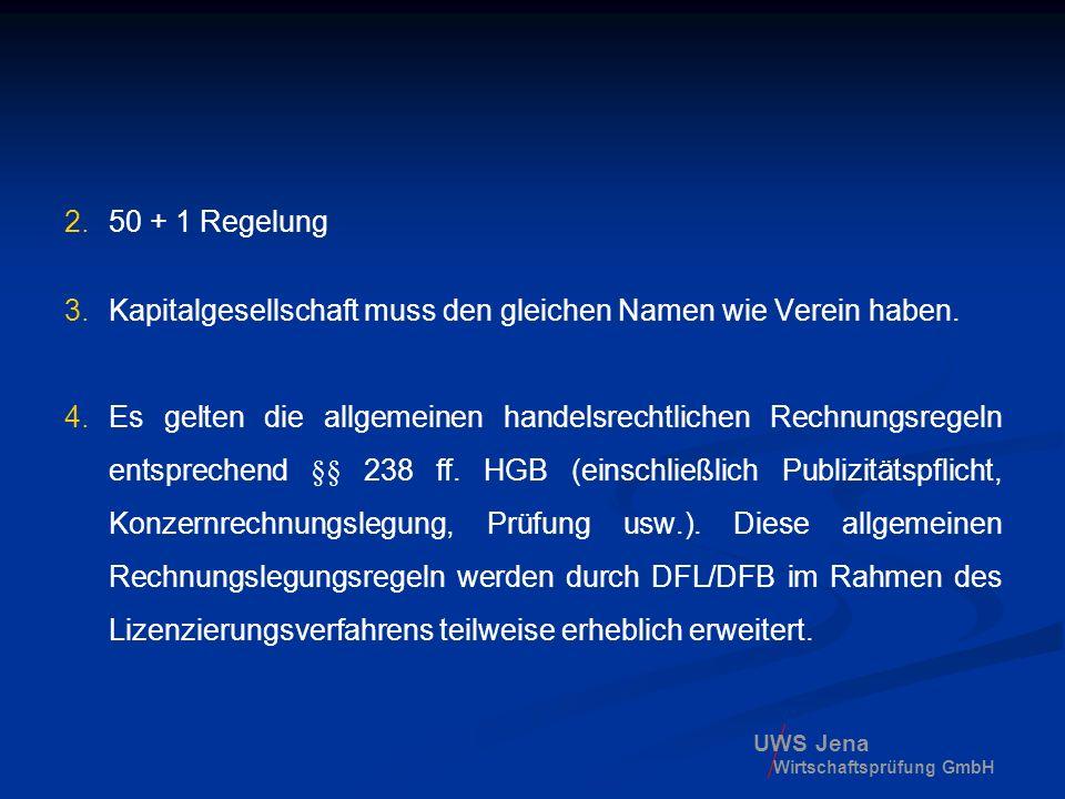 UWS Jena Wirtschaftsprüfung GmbH 2.50 + 1 Regelung 3.Kapitalgesellschaft muss den gleichen Namen wie Verein haben. 4.Es gelten die allgemeinen handels