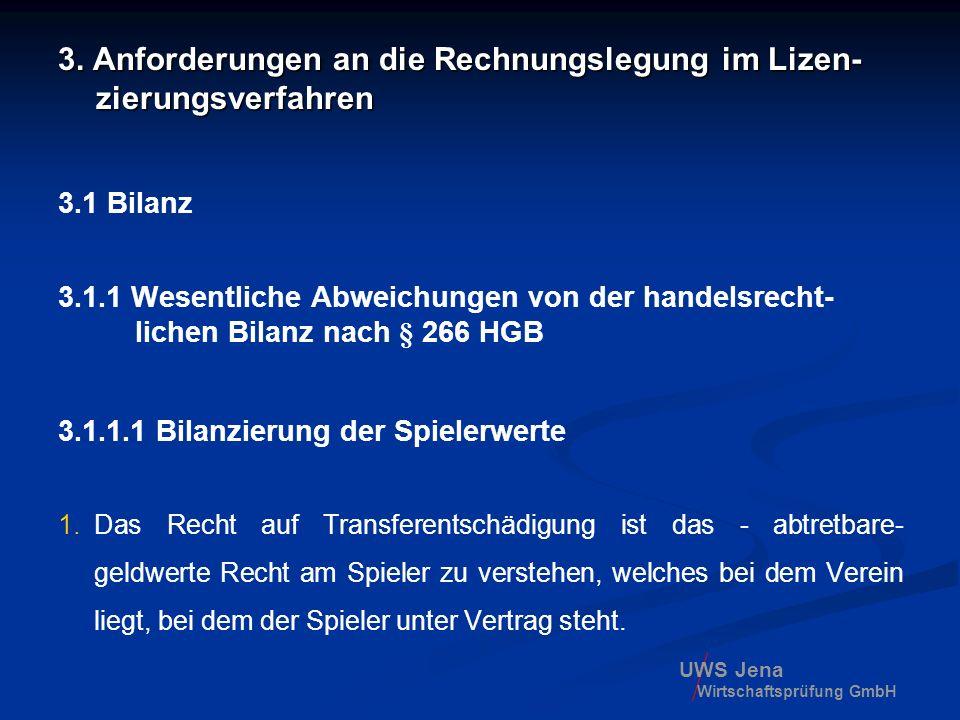 UWS Jena Wirtschaftsprüfung GmbH 3. Anforderungen an die Rechnungslegung im Lizen- zierungsverfahren 3.1 Bilanz 3.1.1 Wesentliche Abweichungen von der