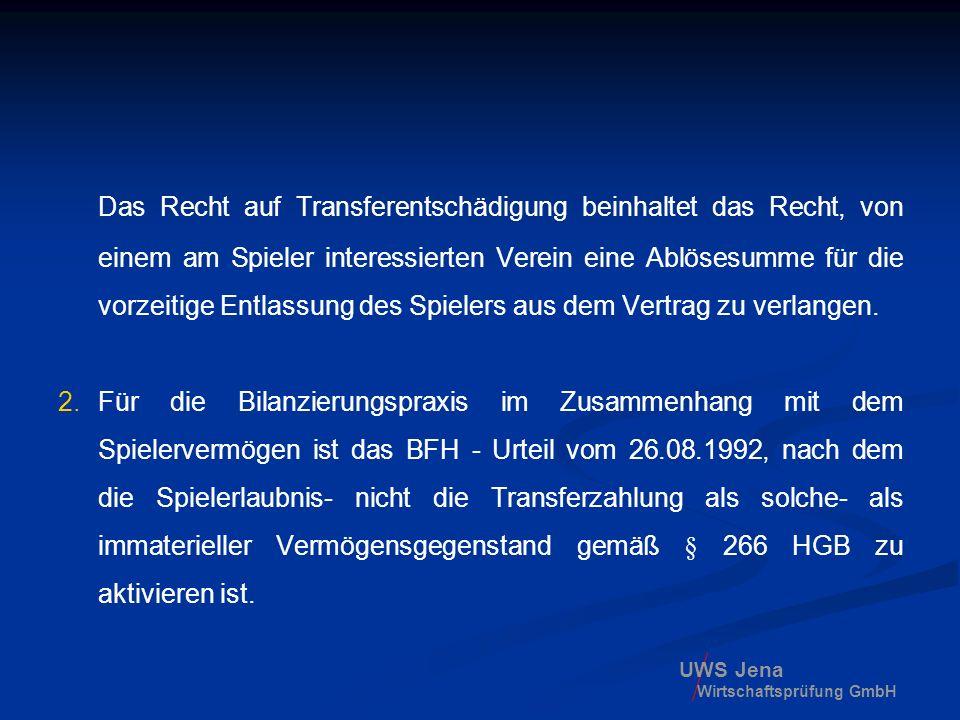 UWS Jena Wirtschaftsprüfung GmbH Das Recht auf Transferentschädigung beinhaltet das Recht, von einem am Spieler interessierten Verein eine Ablösesumme
