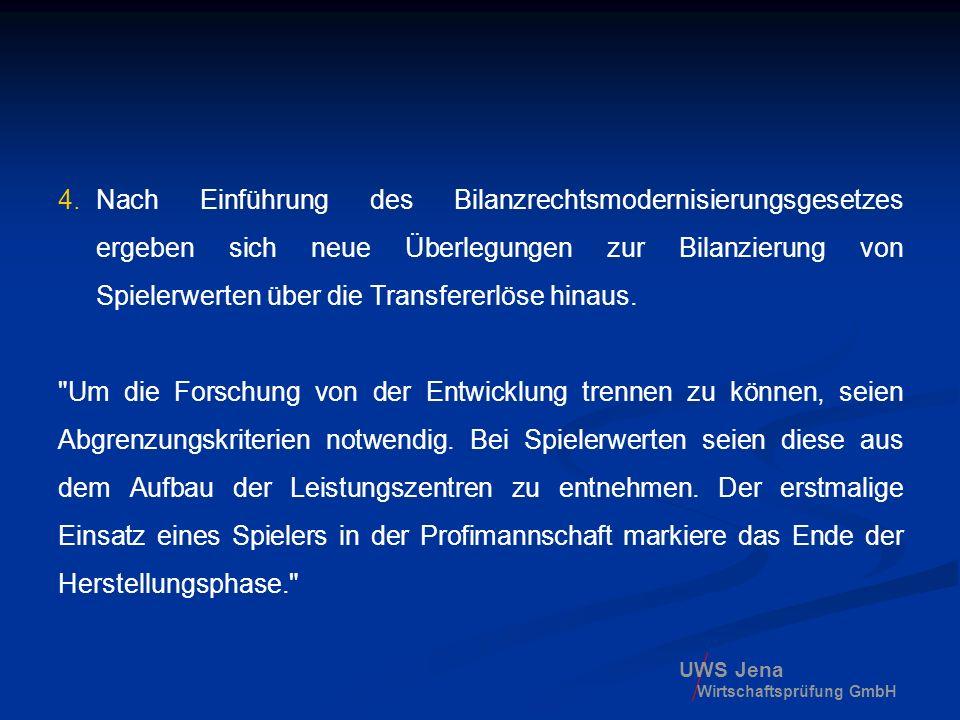 UWS Jena Wirtschaftsprüfung GmbH 4. Nach Einführung des Bilanzrechtsmodernisierungsgesetzes ergeben sich neue Überlegungen zur Bilanzierung von Spiele