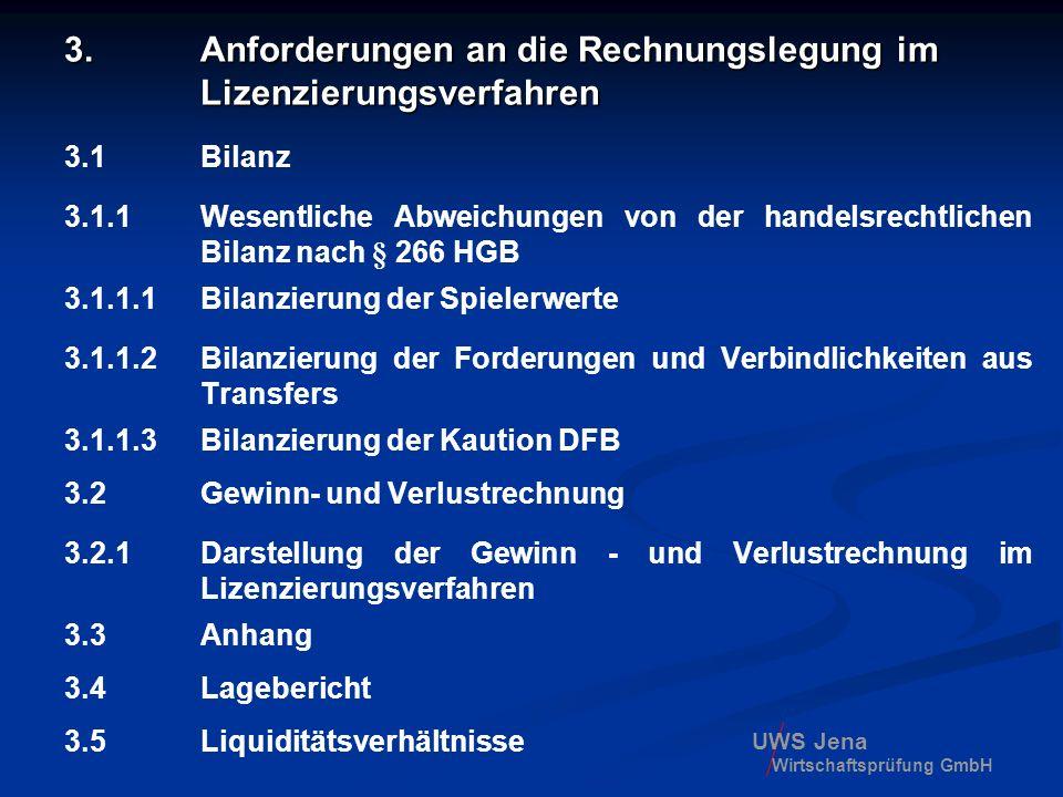 UWS Jena Wirtschaftsprüfung GmbH 3. Anforderungen an die Rechnungslegung im Lizenzierungsverfahren 3.1 Bilanz 3.1.1 Wesentliche Abweichungen von der h