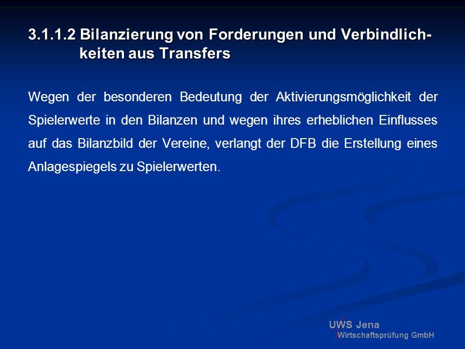 UWS Jena Wirtschaftsprüfung GmbH 3.1.1.2 Bilanzierung von Forderungen und Verbindlich- keiten aus Transfers Wegen der besonderen Bedeutung der Aktivie