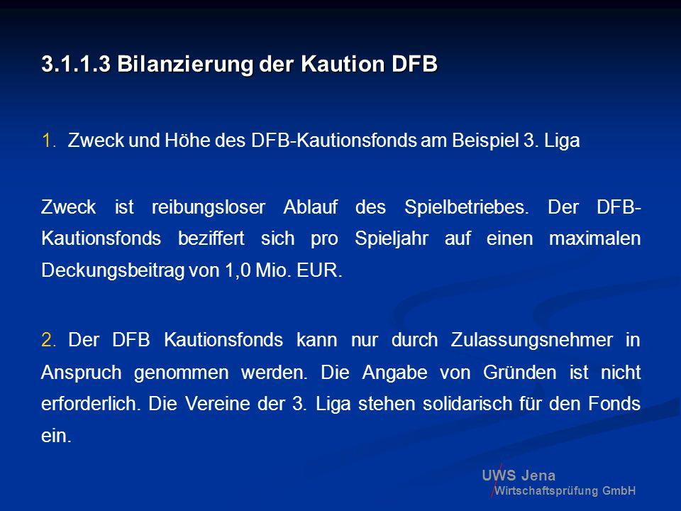 UWS Jena Wirtschaftsprüfung GmbH 3.1.1.3 Bilanzierung der Kaution DFB 1.Zweck und Höhe des DFB-Kautionsfonds am Beispiel 3. Liga Zweck ist reibungslos
