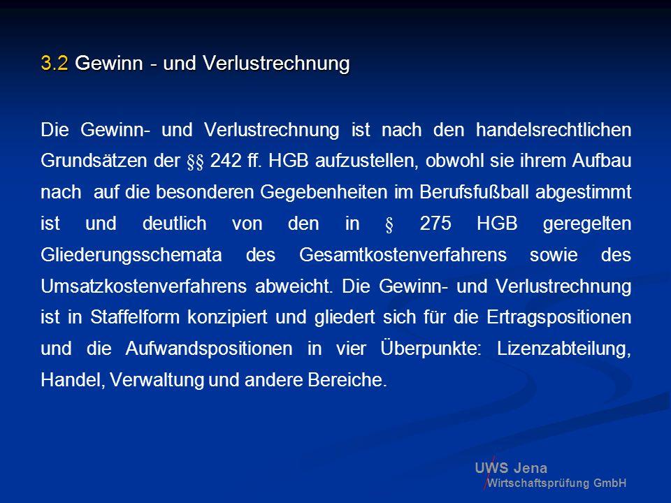 UWS Jena Wirtschaftsprüfung GmbH 3.2 Gewinn - und Verlustrechnung Die Gewinn- und Verlustrechnung ist nach den handelsrechtlichen Grundsätzen der §§ 2