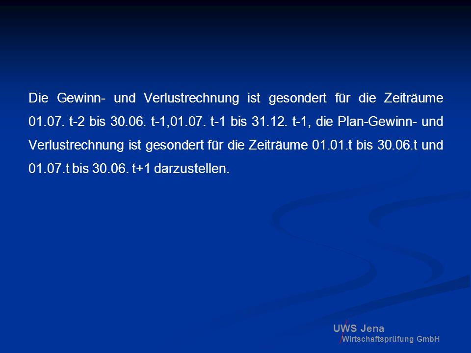 UWS Jena Wirtschaftsprüfung GmbH Die Gewinn- und Verlustrechnung ist gesondert für die Zeiträume 01.07. t-2 bis 30.06. t-1,01.07. t-1 bis 31.12. t-1,