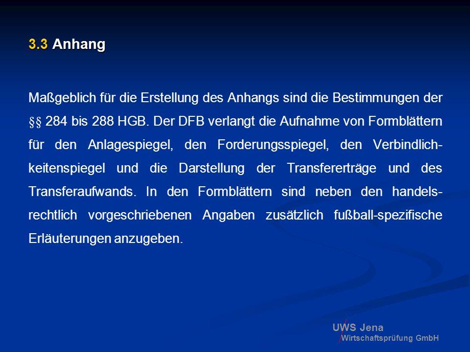 UWS Jena Wirtschaftsprüfung GmbH 3.3 Anhang Maßgeblich für die Erstellung des Anhangs sind die Bestimmungen der §§ 284 bis 288 HGB. Der DFB verlangt d