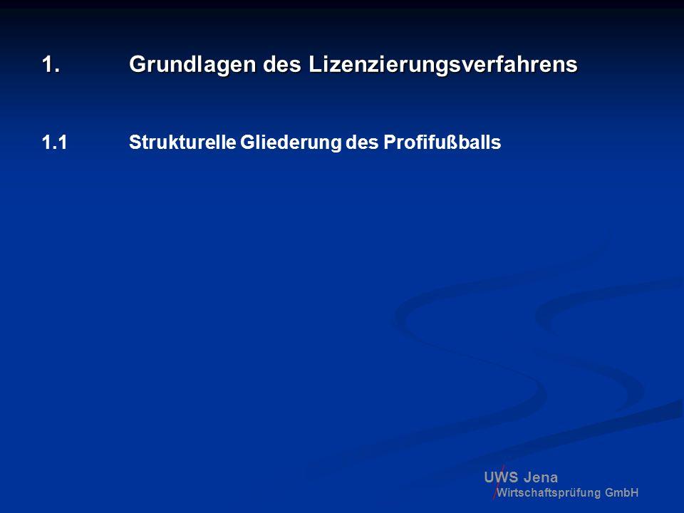 UWS Jena Wirtschaftsprüfung GmbH 1.4 Rechtliche Grundlagen 1.2000 hat UEFA-Exekutivkomitee beschlossen, ein Klublizen- zierungsverfahren einzuführen, um professionelle Strukturen im Fußballsport auf- oder weiter auszubauen, insbesondere aber, um der ökonomischen Dimension des Fußballsports und seiner finanziellen Risiken gerecht zu werden.