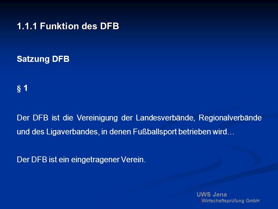 UWS Jena Wirtschaftsprüfung GmbH 1.1.1 Funktion des DFB Satzung DFB § 1 Der DFB ist die Vereinigung der Landesverbände, Regionalverbände und des Ligav