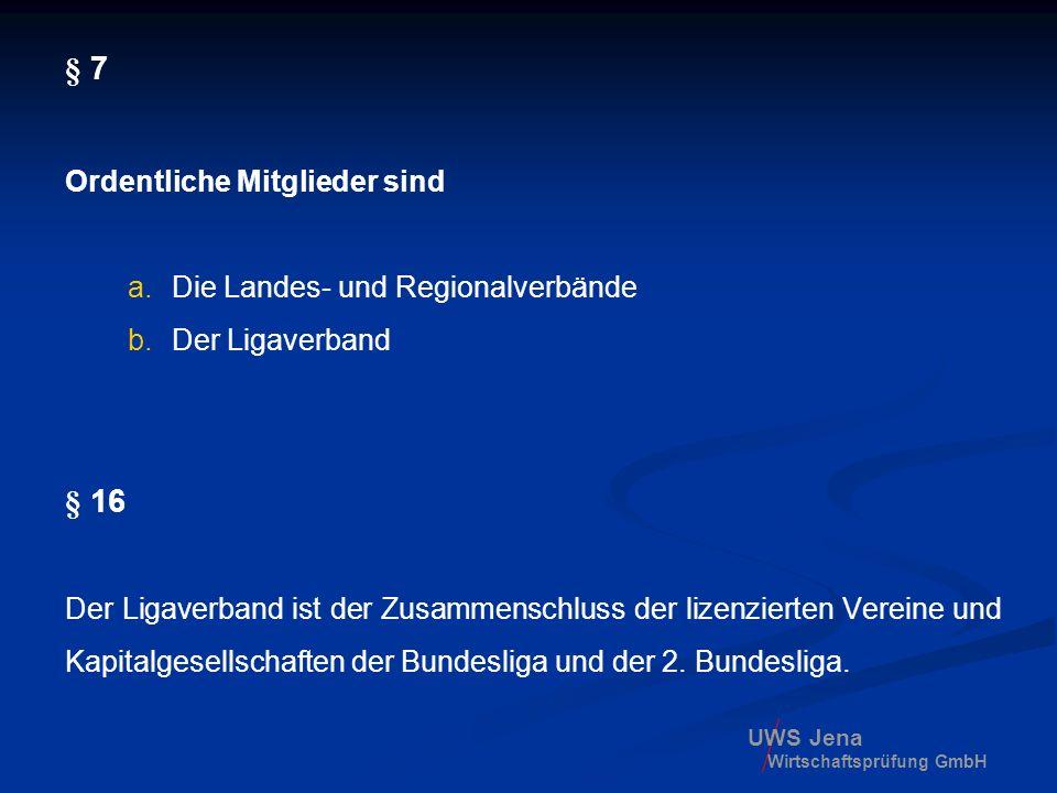 UWS Jena Wirtschaftsprüfung GmbH § 7 Ordentliche Mitglieder sind a.Die Landes- und Regionalverbände b.Der Ligaverband § 16 Der Ligaverband ist der Zus