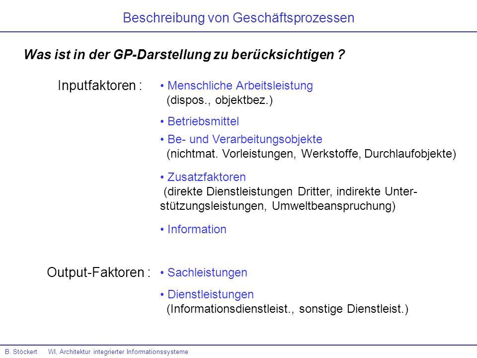 Beschreibung von Geschäftsprozessen B. Stöckert WI, Architektur integrierter Informationssysteme Was ist in der GP-Darstellung zu berücksichtigen ? In