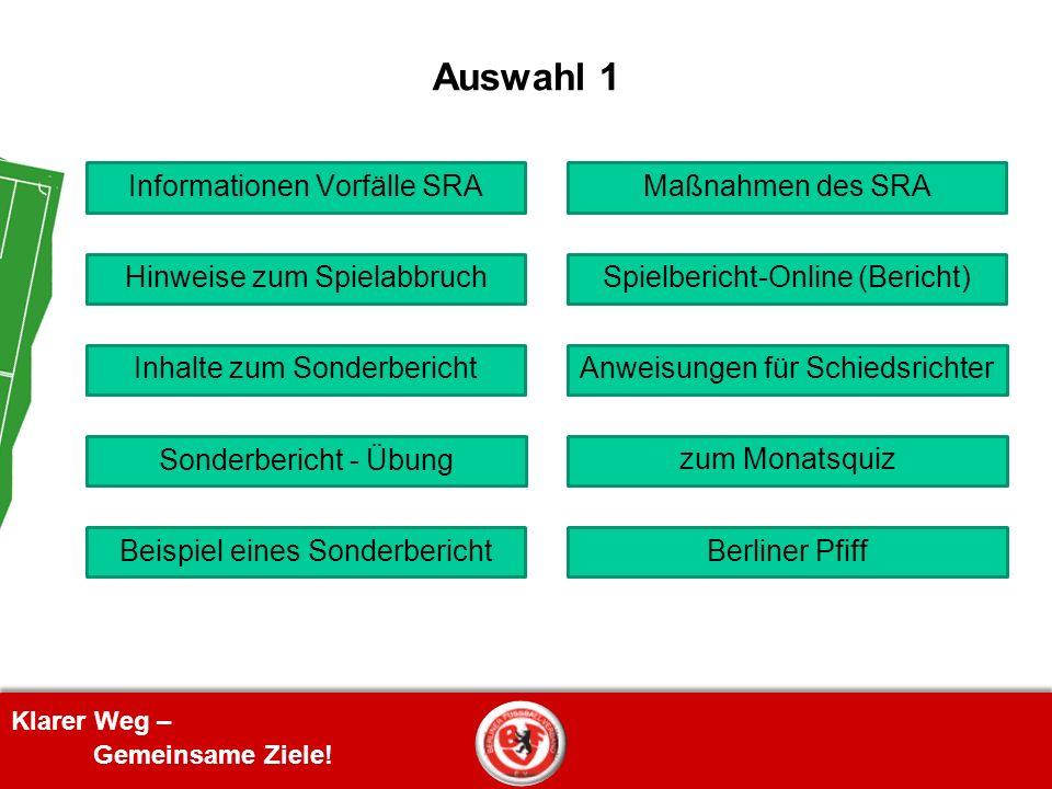 Klarer Weg – Gemeinsame Ziele! Auswahl 1 Inhalte zum Sonderbericht Beispiel eines Sonderbericht Anweisungen für Schiedsrichter Hinweise zum Spielabbru
