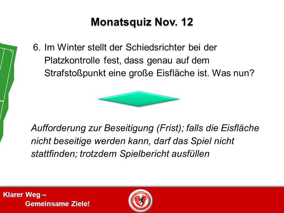 Klarer Weg – Gemeinsame Ziele! 6. Im Winter stellt der Schiedsrichter bei der Platzkontrolle fest, dass genau auf dem Strafstoßpunkt eine große Eisflä