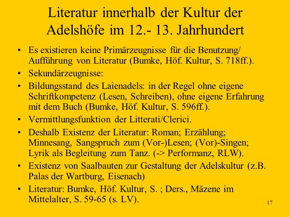 17 Literatur innerhalb der Kultur der Adelshöfe im 12.- 13. Jahrhundert Es existieren keine Primärzeugnisse für die Benutzung/ Aufführung von Literatu