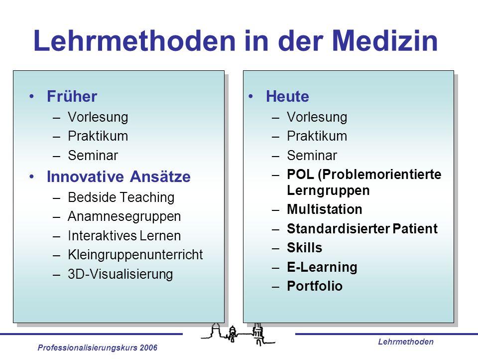 Professionalisierungskurs 2006 Lehrmethoden Lehrmethoden in der Medizin Früher –Vorlesung –Praktikum –Seminar Innovative Ansätze –Bedside Teaching –An