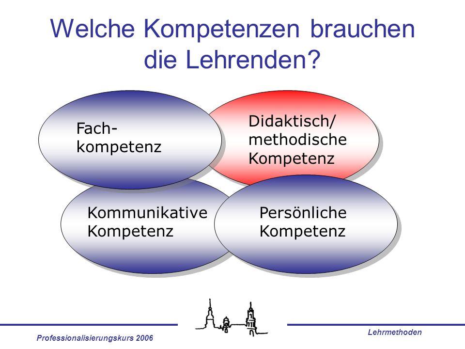 Professionalisierungskurs 2006 Lehrmethoden Welche Kompetenzen brauchen die Lehrenden? Fach- kompetenz Didaktisch/ methodische Kompetenz Persönliche K