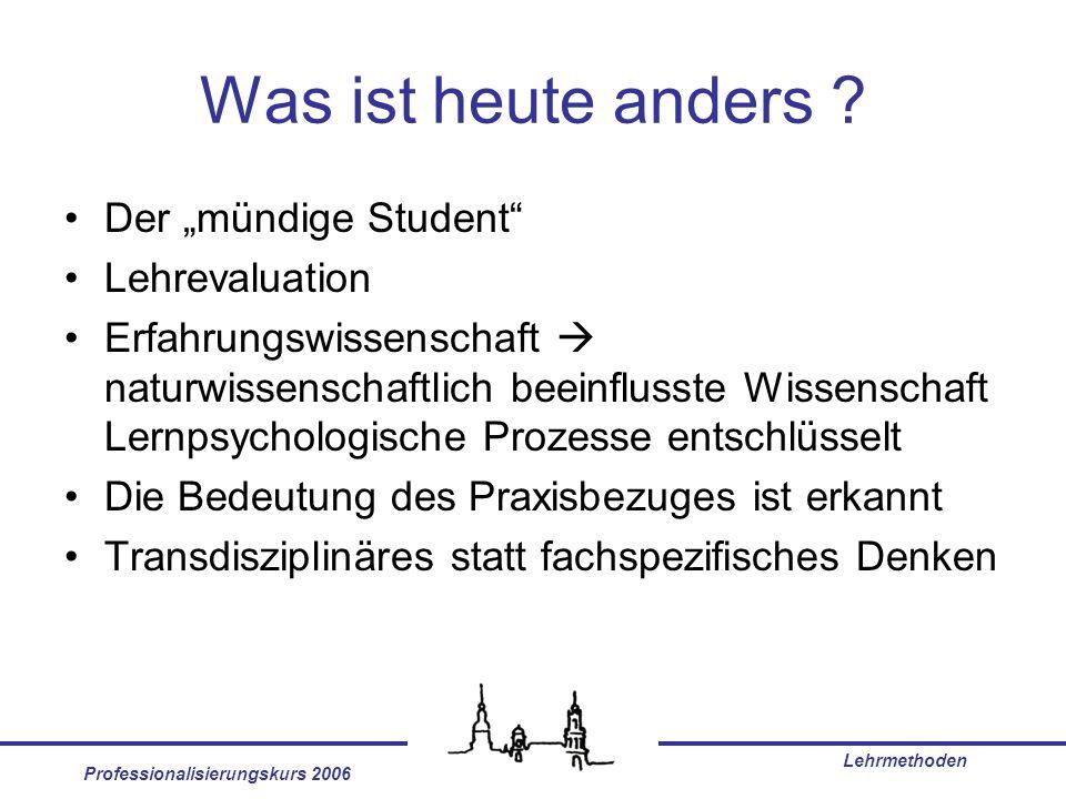 Professionalisierungskurs 2006 Lehrmethoden Was ist heute anders ? Der mündige Student Lehrevaluation Erfahrungswissenschaft naturwissenschaftlich bee