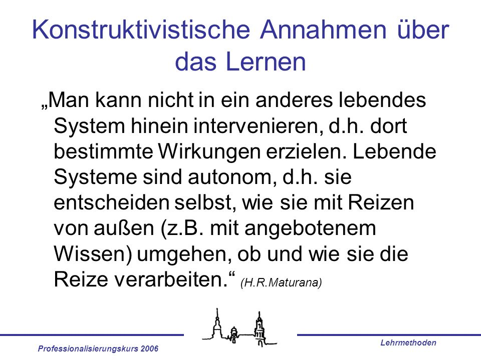 Professionalisierungskurs 2006 Lehrmethoden Teach others Lecture Discussion group Demonstration Audiovisual Reading Practice by doing 5% 10% 20% 30% 50% 75% 80% Average Retention Rate National Training Laboratories, Bethel, Maine, USA Learning principles