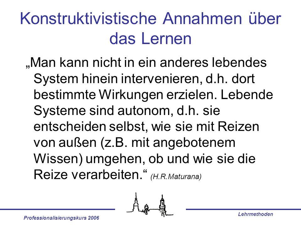 Professionalisierungskurs 2006 Lehrmethoden Konstruktivistische Annahmen über das Lernen Man kann nicht in ein anderes lebendes System hinein interven