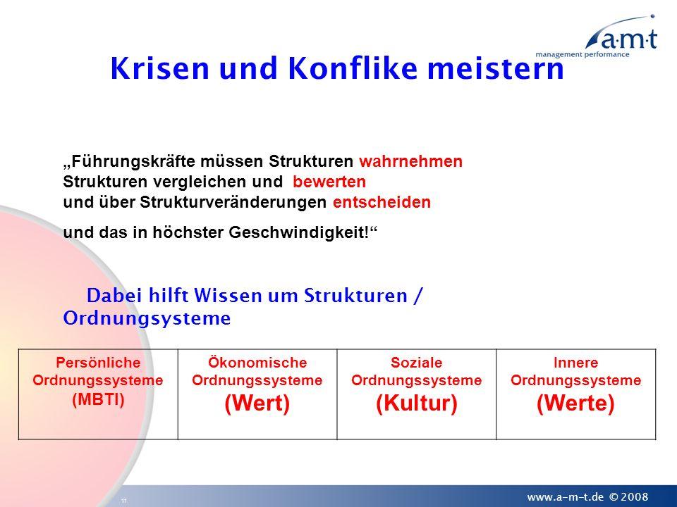 11 www.a-m-t.de © 2008 Krisen und Konflike meistern Persönliche Ordnungssysteme (MBTI) Ökonomische Ordnungssysteme (Wert) Soziale Ordnungssysteme (Kul