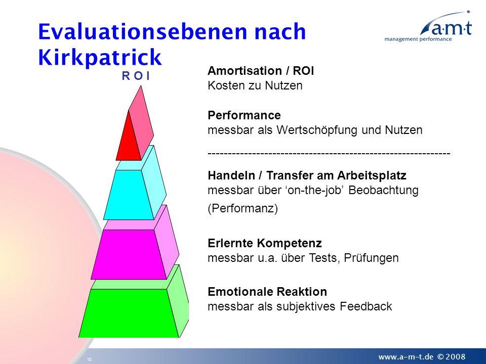 13 www.a-m-t.de © 2008 Evaluationsebenen nach Kirkpatrick Amortisation / ROI Kosten zu Nutzen Performance messbar als Wertschöpfung und Nutzen -------