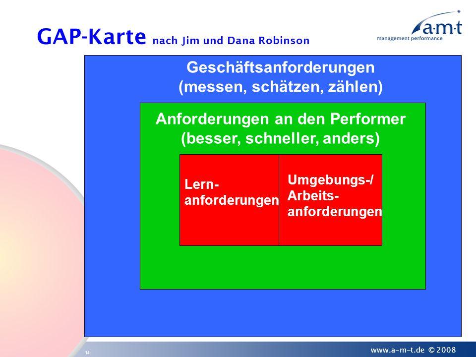 14 www.a-m-t.de © 2008 Geschäftsanforderungen (messen, schätzen, zählen) Anforderungen an den Performer (besser, schneller, anders) Lern- anforderunge
