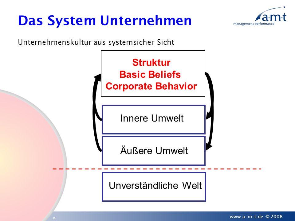 16 www.a-m-t.de © 2008 Das System Unternehmen Unternehmenskultur aus systemsicher Sicht Struktur Basic Beliefs Corporate Behavior Innere Umwelt Äußere