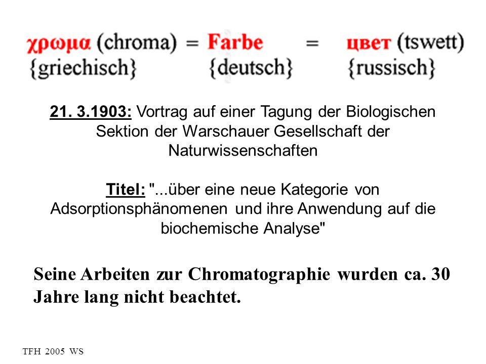 TFH 2005 WS Seine Arbeiten zur Chromatographie wurden ca. 30 Jahre lang nicht beachtet. 21. 3.1903: Vortrag auf einer Tagung der Biologischen Sektion