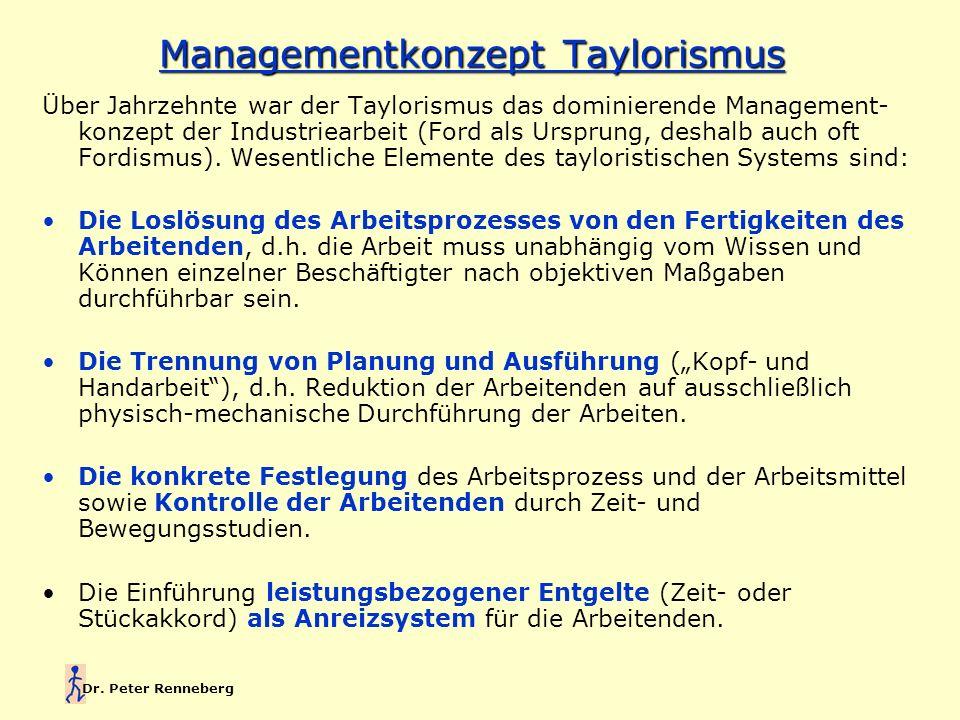 Dr. Peter Renneberg Managementkonzept Taylorismus Über Jahrzehnte war der Taylorismus das dominierende Management- konzept der Industriearbeit (Ford a