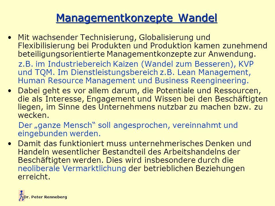 Dr. Peter Renneberg Managementkonzepte Wandel Mit wachsender Technisierung, Globalisierung und Flexibilisierung bei Produkten und Produktion kamen zun