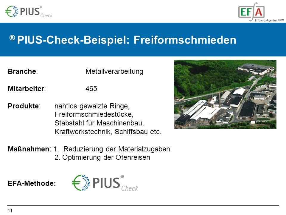 11 ® PIUS-Check-Beispiel: Freiformschmieden Branche: Metallverarbeitung Mitarbeiter: 465 Produkte: nahtlos gewalzte Ringe, Freiformschmiedestücke, Stabstahl für Maschinenbau, Kraftwerkstechnik, Schiffsbau etc.