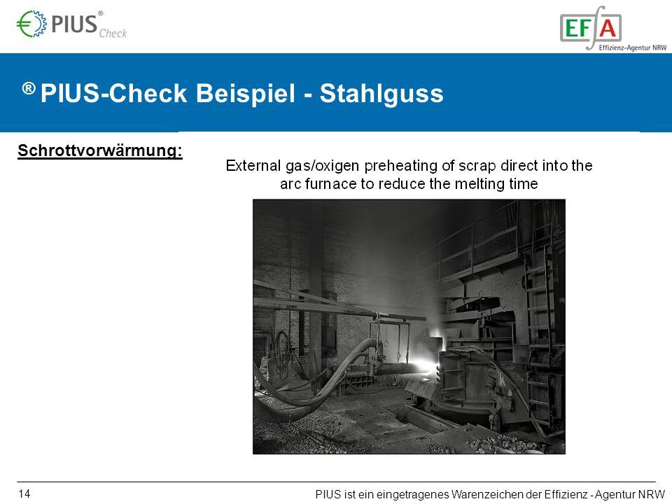 14 ® PIUS-Check Beispiel - Stahlguss PIUS ist ein eingetragenes Warenzeichen der Effizienz - Agentur NRW Schrottvorwärmung: