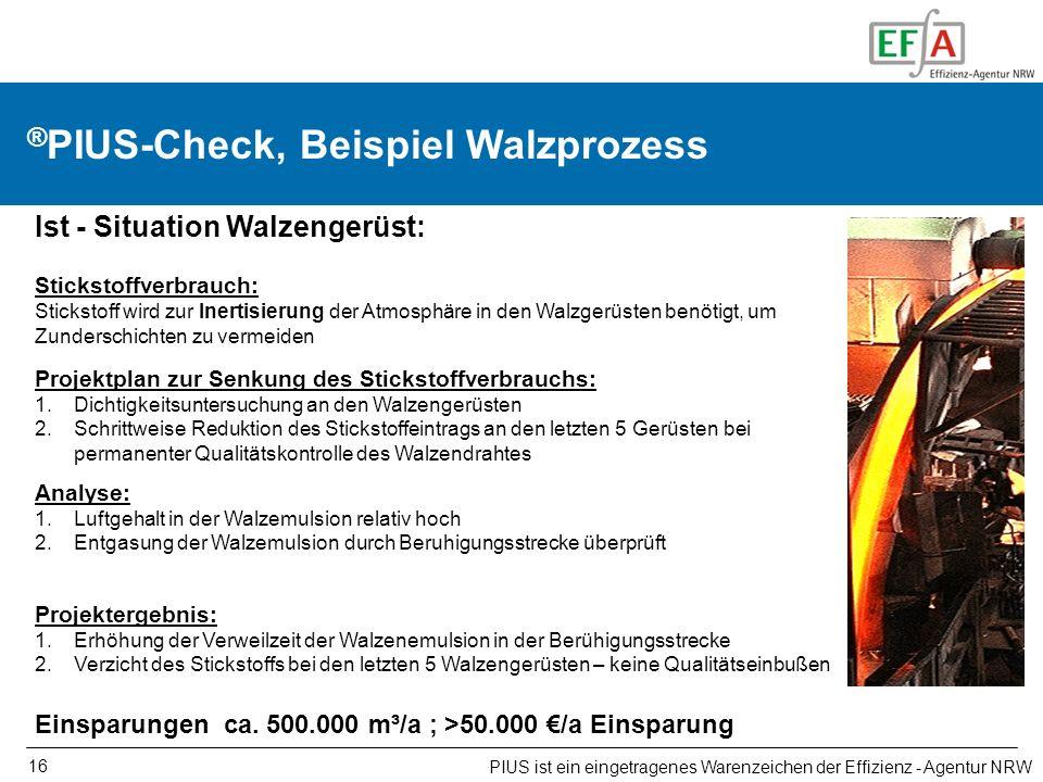 16 ® PIUS-Check, Beispiel Walzprozess PIUS ist ein eingetragenes Warenzeichen der Effizienz - Agentur NRW Ist - Situation Walzengerüst: Stickstoffverb