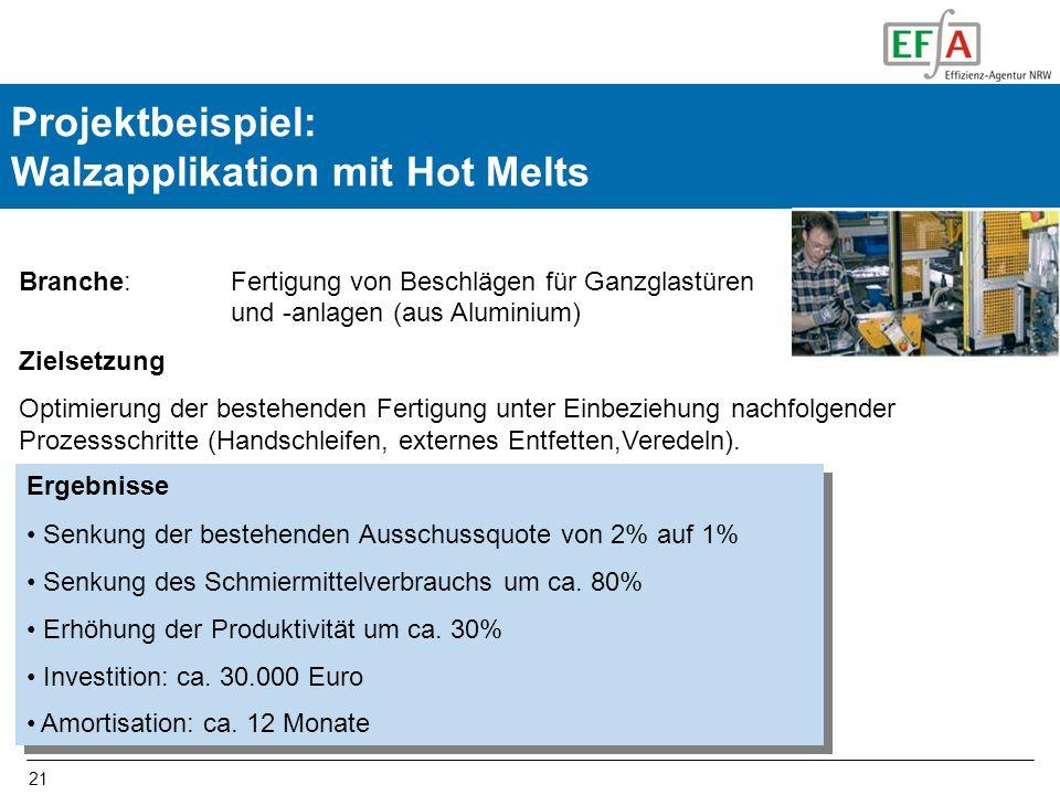 21 Projektbeispiel: Walzapplikation mit Hot Melts Branche: Fertigung von Beschlägen für Ganzglastüren und -anlagen (aus Aluminium) Zielsetzung Optimierung der bestehenden Fertigung unter Einbeziehung nachfolgender Prozessschritte (Handschleifen, externes Entfetten,Veredeln).