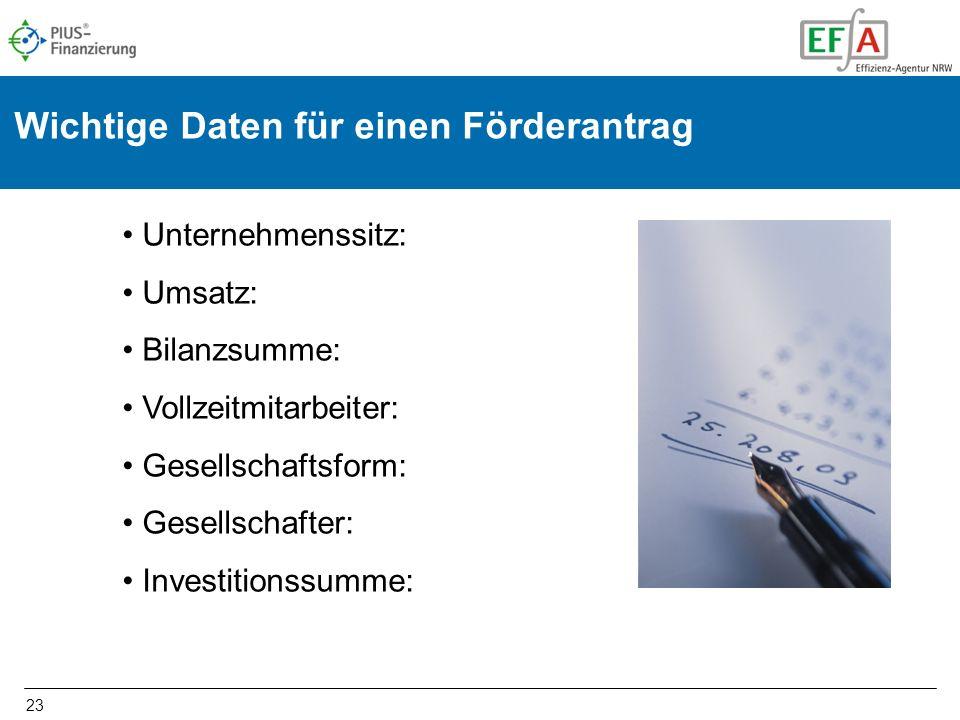 23 Wichtige Daten für einen Förderantrag Unternehmenssitz: Umsatz: Bilanzsumme: Vollzeitmitarbeiter: Gesellschaftsform: Gesellschafter: Investitionssu