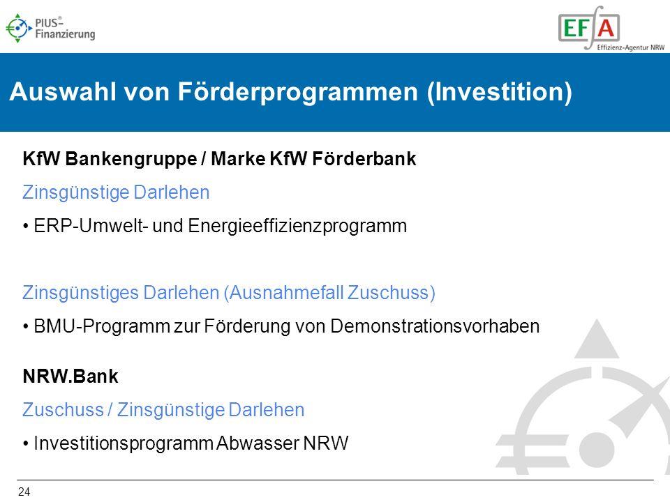 24 Auswahl von Förderprogrammen (Investition) KfW Bankengruppe / Marke KfW Förderbank Zinsgünstige Darlehen ERP-Umwelt- und Energieeffizienzprogramm Z