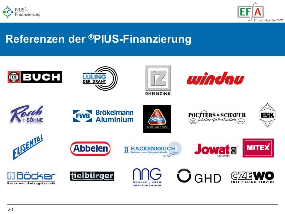 26 Referenzen der ® PIUS-Finanzierung