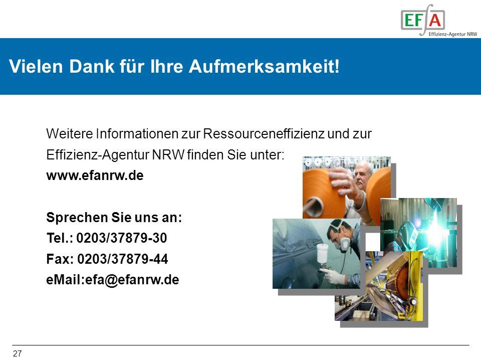 27 Vielen Dank für Ihre Aufmerksamkeit! Weitere Informationen zur Ressourceneffizienz und zur Effizienz-Agentur NRW finden Sie unter: www.efanrw.de Sp