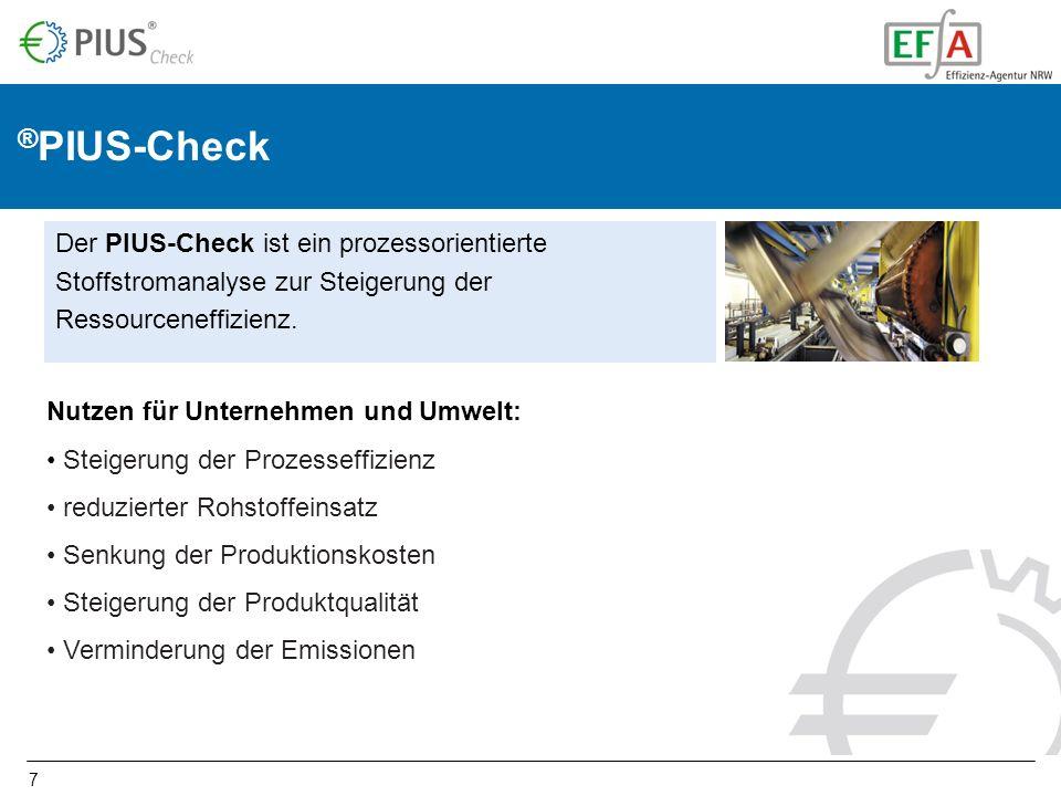 7 Der PIUS-Check ist ein prozessorientierte Stoffstromanalyse zur Steigerung der Ressourceneffizienz. Nutzen für Unternehmen und Umwelt: Steigerung de