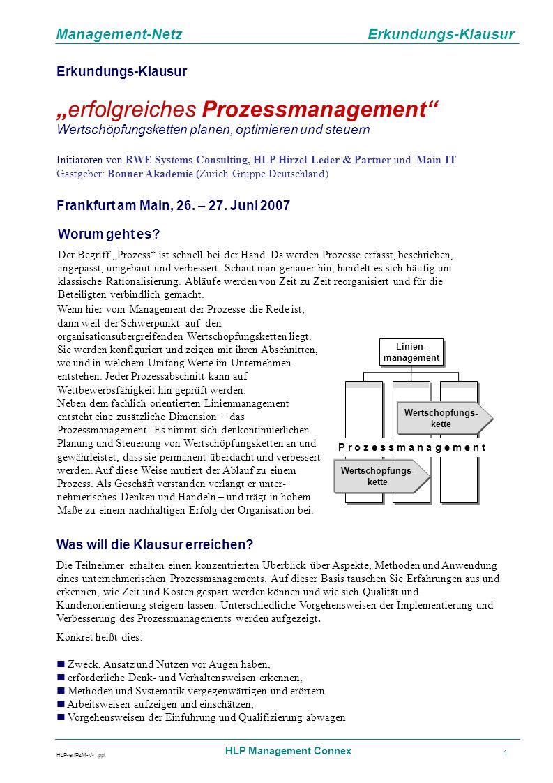 Management-Netz Erkundungs-Klausur HLP-erfPzM-V-1.ppt HLP Management Connex 2 An wen richtet sich die Klausur.