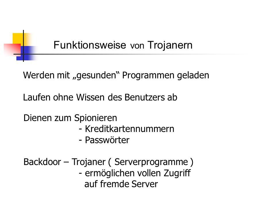 Funktionsweise von Trojanern Werden mit gesunden Programmen geladen Laufen ohne Wissen des Benutzers ab Dienen zum Spionieren - Kreditkartennummern - Passwörter Backdoor – Trojaner ( Serverprogramme ) - ermöglichen vollen Zugriff auf fremde Server