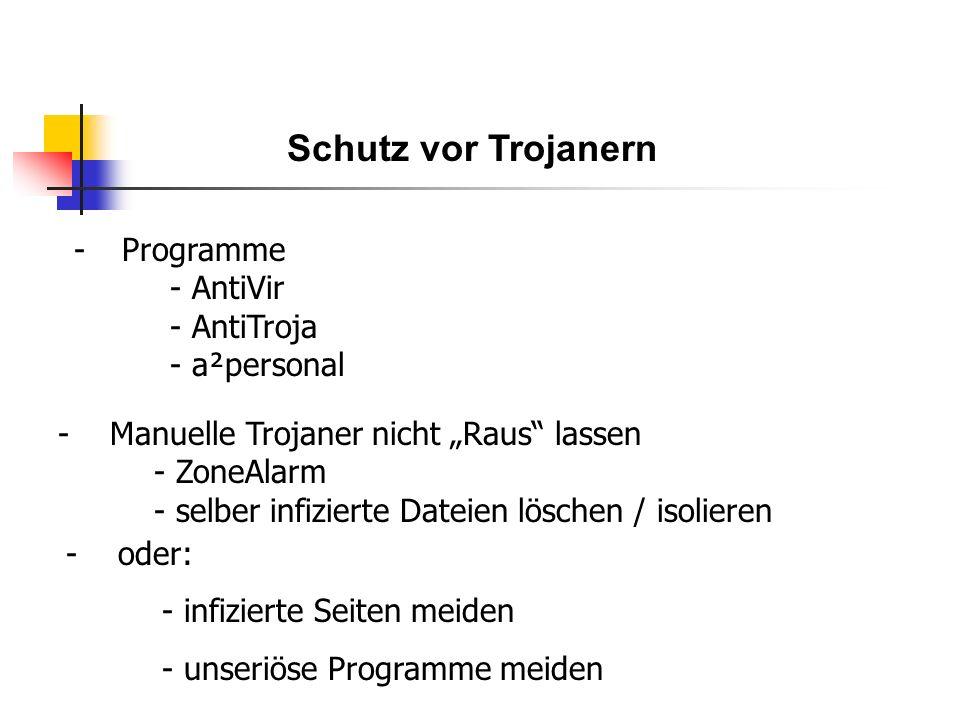 Schutz vor Trojanern -Programme - AntiVir - AntiTroja - a²personal - Manuelle Trojaner nicht Raus lassen - ZoneAlarm - selber infizierte Dateien löschen / isolieren - oder: - infizierte Seiten meiden - unseriöse Programme meiden
