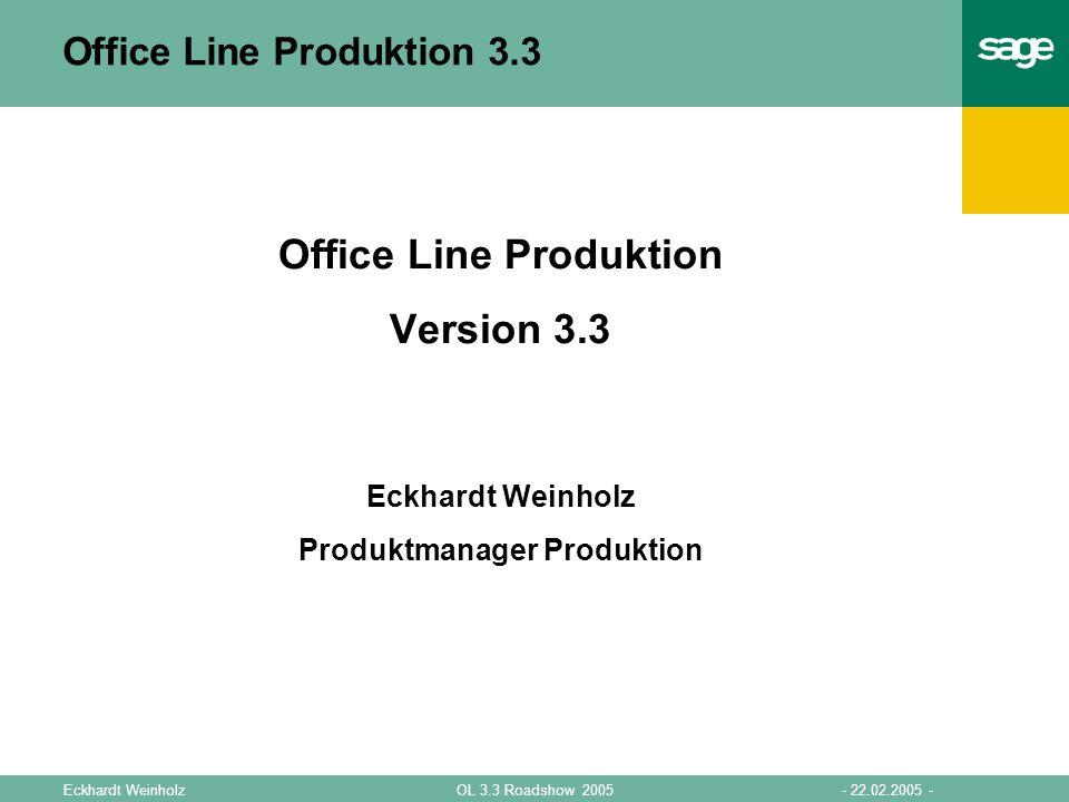 - 22.02.2005 -OL 3.3 Roadshow 2005Eckhardt Weinholz Office Line Produktion 3.3 Office Line Produktion Version 3.3 Eckhardt Weinholz Produktmanager Pro