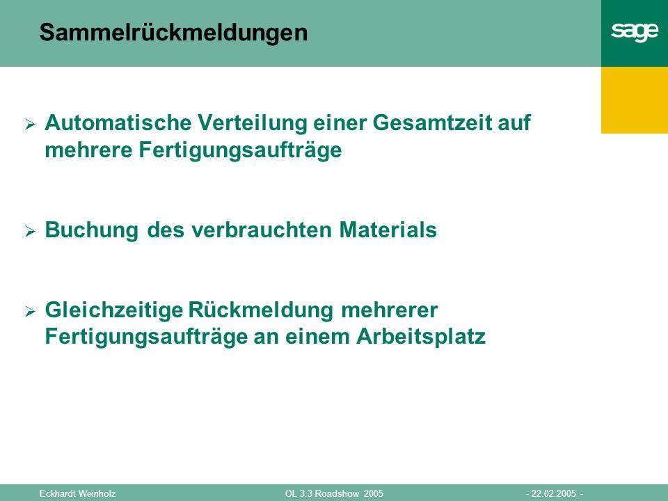 - 22.02.2005 -OL 3.3 Roadshow 2005Eckhardt Weinholz Sammelrückmeldungen Automatische Verteilung einer Gesamtzeit auf mehrere Fertigungsaufträge Buchun