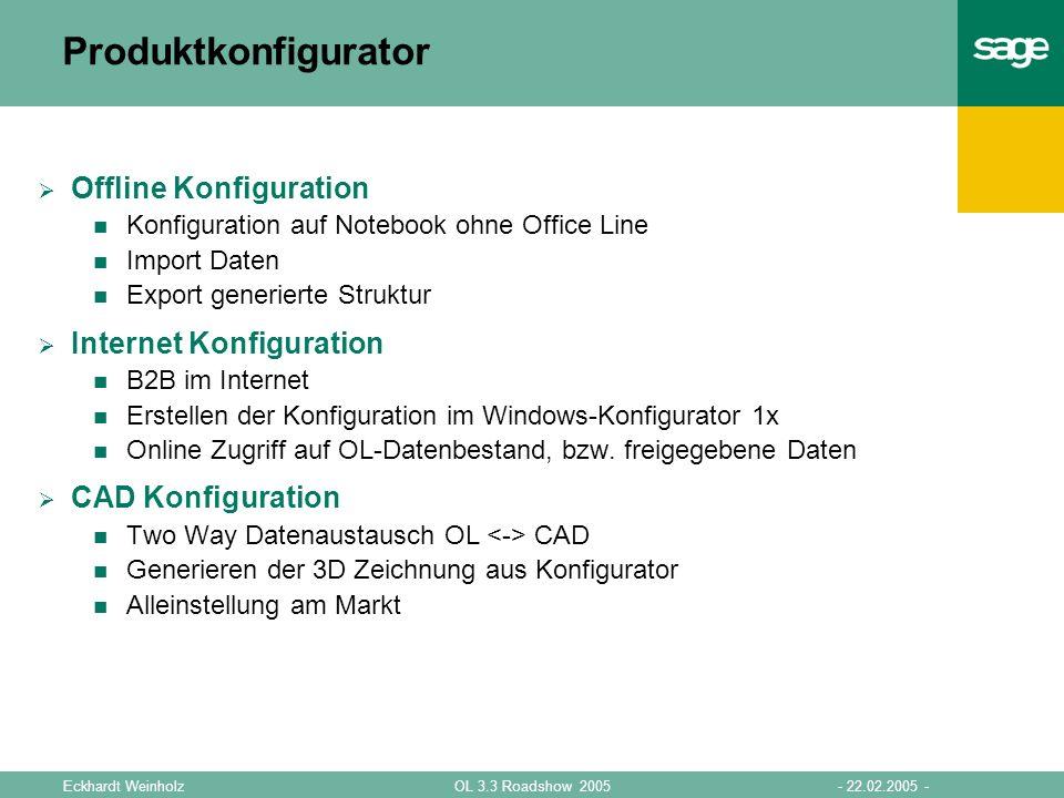 - 22.02.2005 -OL 3.3 Roadshow 2005Eckhardt Weinholz Produktkonfigurator Offline Konfiguration Konfiguration auf Notebook ohne Office Line Import Daten