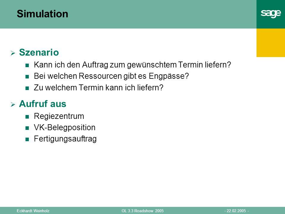 - 22.02.2005 -OL 3.3 Roadshow 2005Eckhardt Weinholz Simulation Simulationsparameter Artikel Menge Termin Baumstruktur Baugruppen Detailansicht Ressourcen