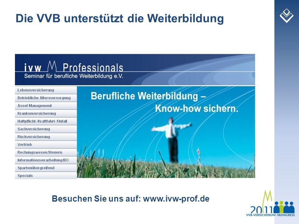 6 Das IVW und die VVB sind Träger des Besuchen Sie uns auf: www.ivw-prof.de Die VVB unterstützt die Weiterbildung