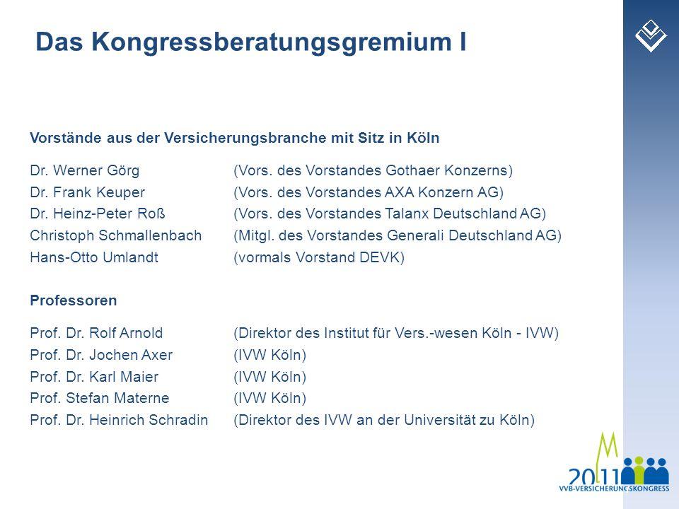 Vorstände aus der Versicherungsbranche mit Sitz in Köln Dr. Werner Görg (Vors. des Vorstandes Gothaer Konzerns) Dr. Frank Keuper (Vors. des Vorstandes