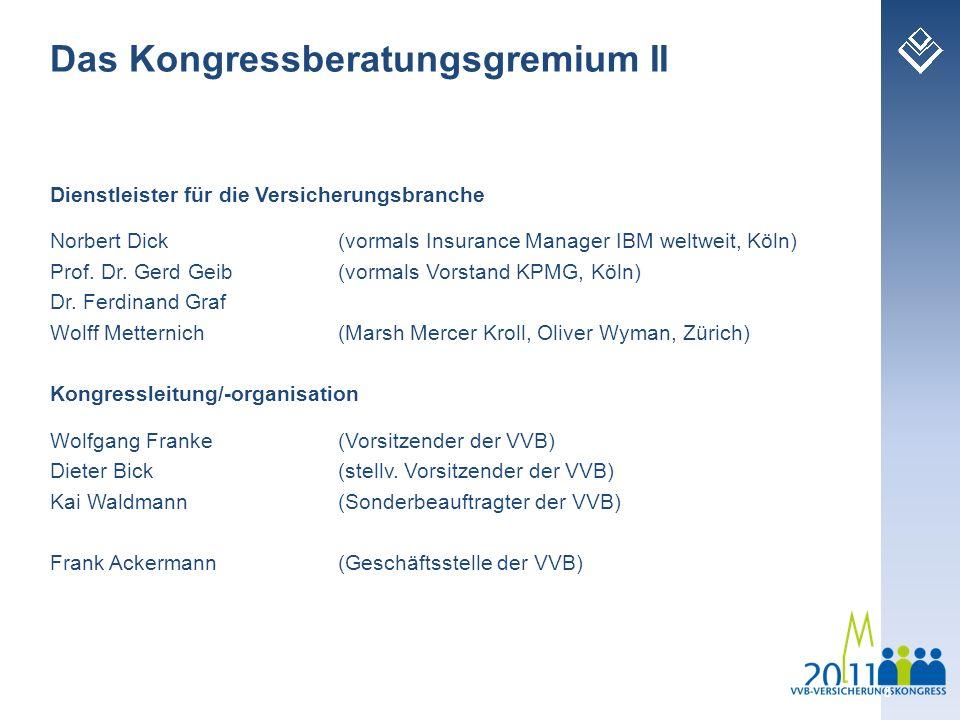 Dienstleister für die Versicherungsbranche Norbert Dick (vormals Insurance Manager IBM weltweit, Köln) Prof. Dr. Gerd Geib (vormals Vorstand KPMG, Köl