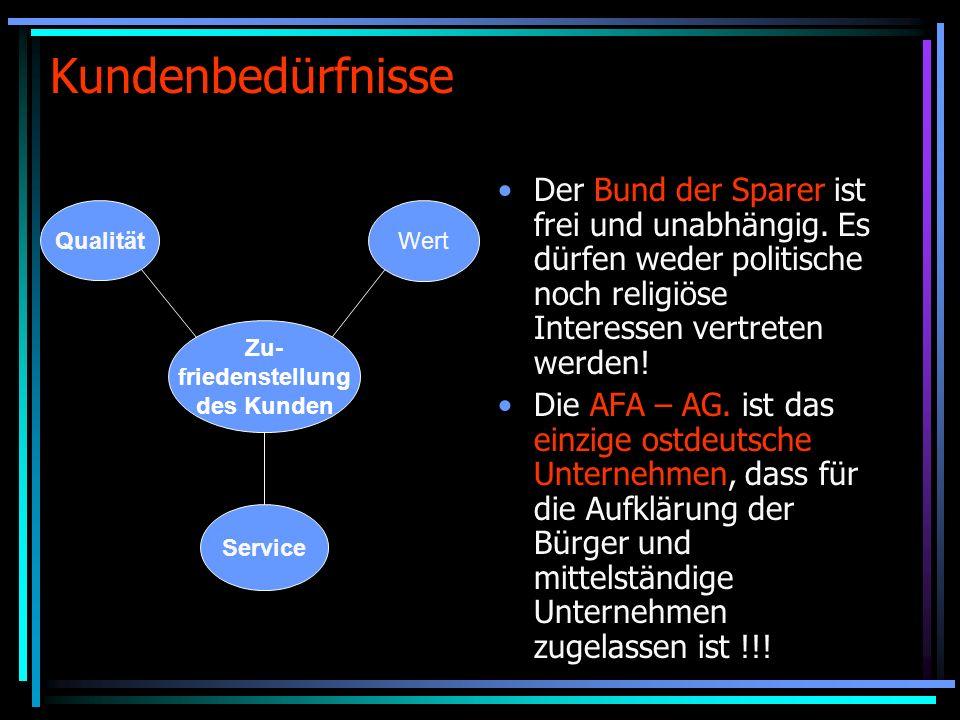 Kundenbedürfnisse Der Bund der Sparer ist frei und unabhängig.