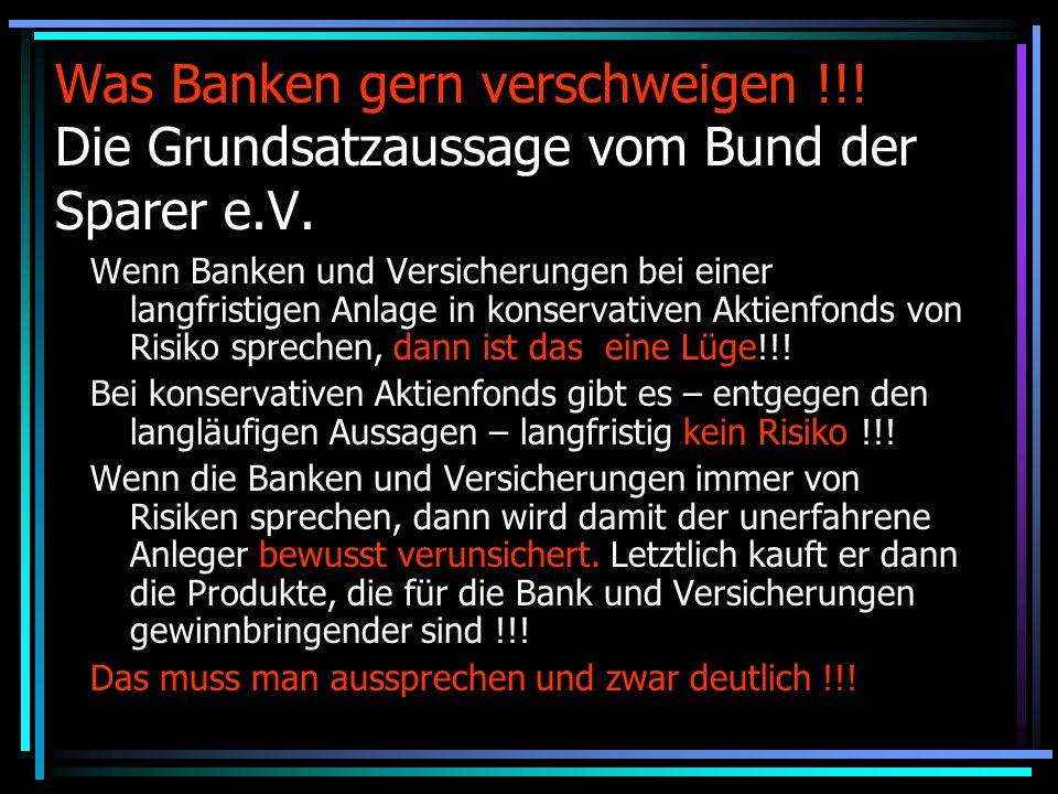 Was Banken gern verschweigen !!.Die Grundsatzaussage vom Bund der Sparer e.V.